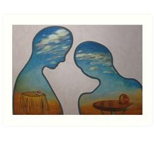 couple with head in clouds Art Print
