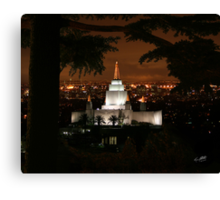 Oakland Temple City Lights 20x24 Canvas Print