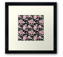 Stylish Vintage Pink Floral Pattern Framed Print