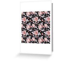 Stylish Vintage Pink Floral Pattern Greeting Card