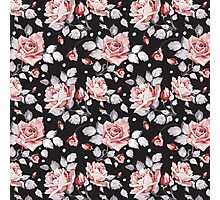 Stylish Vintage Pink Floral Pattern Photographic Print