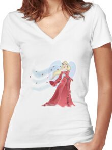 Snow Angel Tee - red Women's Fitted V-Neck T-Shirt