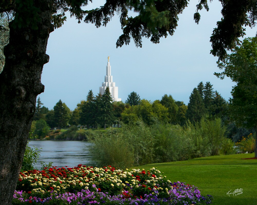 Idaho Falls Temple from the Park 20x24 by Ken Fortie