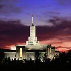 Mt. Timpanogos Crescent Moon Sunset 20x30 by Ken Fortie