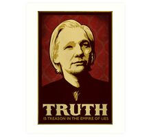 Julian Assange Truth Is Treason Art Print