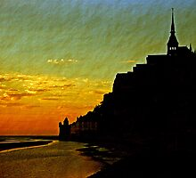 Mont Saint Michel, France (The Marvel) at Sunset by buttonpresser