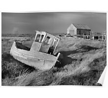 Decaying Boat and Boat Shed, Thornham, Norfolk Poster