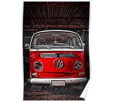 Volkswagen combi Red Poster