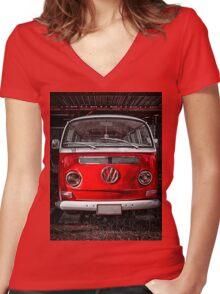 Volkswagen combi Red Women's Fitted V-Neck T-Shirt