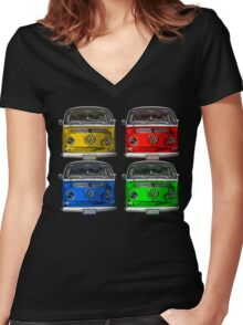 Multi colors Volkswagen kombi Women's Fitted V-Neck T-Shirt