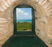 View from inside the Hermitage, Cat Island, Bahamas by Shane Pinder
