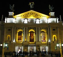 Lvov Opera House at night by Elena Skvortsova