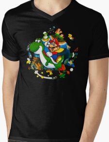 Super Mario World Planet. Mens V-Neck T-Shirt