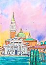 Venice. Isle of San Giorgio Maggiore. Andrea Palladio architecture. watercolor by terezadelpilar ~ art & architecture