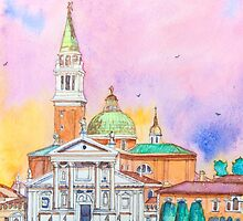 Venice. Isle of San Giorgio Maggiore. Andrea Palladio architecture. watercolor by terezadelpilar~ art & architecture
