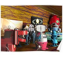 A Collection of 3D Vintage Space Toys Poster
