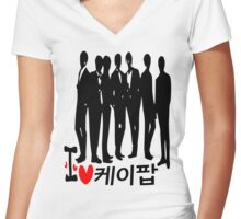 I Heart KPOP in Korean language Women's Fitted V-Neck T-Shirt