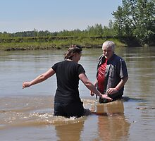 Being Baptised in the North Saskatchewan River by Lisa  Morris