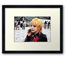 Harajuku Gothloli on the phone Framed Print