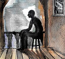 resting violinist by Loui  Jover