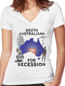 South Australians For Secession Women's Fitted V-Neck T-Shirt