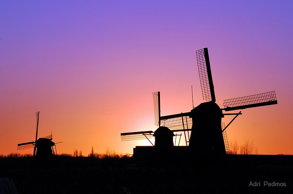Sunset behind the mills by Adri  Padmos