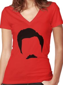 Swanson Mustache Man Women's Fitted V-Neck T-Shirt