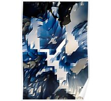 Abstract-Blue-White Poster