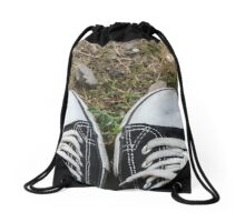 shoes on meadow Drawstring Bag