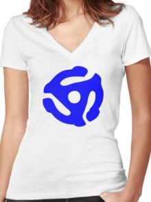 Blue 45 RPM Vinyl Record Holder Women's Fitted V-Neck T-Shirt