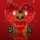 Cute Teddy Bear Valentine's Day Card by Moonlake