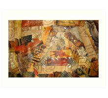 Buttons, stitches and fur collage Art Print