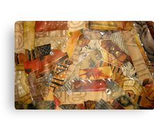 Buttons, stitches and fur collage Canvas Print