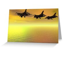 Three F-16 Fighters over the Ocean  Greeting Card