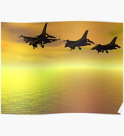 Three F-16 Fighters over the Ocean  Poster