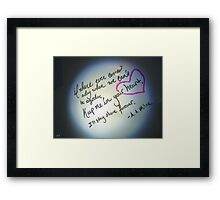 Whiteboard Love: Keep me in your heart... Framed Print