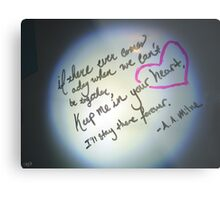 Whiteboard Love: Keep me in your heart... Metal Print