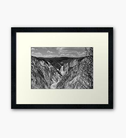Yellowstone Falls Black and White Framed Print