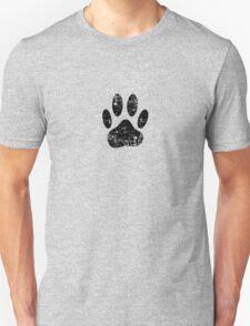 Distressed Black Dog Paw Print T-Shirt