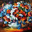 Flowers - original oil painting on canvas by Leonid Afremov by Leonid  Afremov