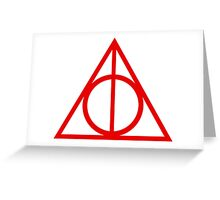 Deathly Hallows red Greeting Card