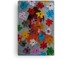Painting: Projection of a Woman's Portrait on a Flowery Wallpaper Canvas Print