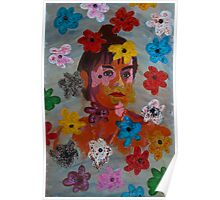 Painting: Projection of a Woman's Portrait on a Flowery Wallpaper Poster