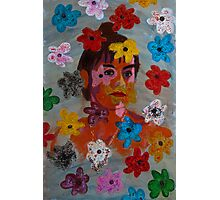Painting: Projection of a Woman's Portrait on a Flowery Wallpaper Photographic Print