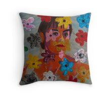 Painting: Projection of a Woman's Portrait on a Flowery Wallpaper Throw Pillow