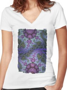 Mobius dragons and other patterns, fractal abstract artwork Women's Fitted V-Neck T-Shirt