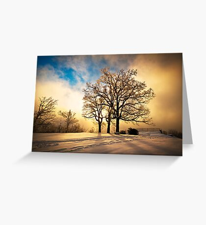 Fire and Ice - Winter Sunset Landscape Greeting Card
