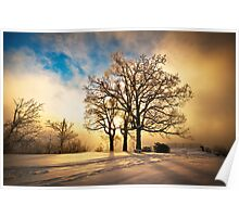 Fire and Ice - Winter Sunset Landscape Poster