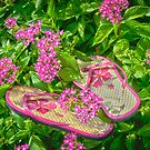 """""""Pretty In Pink"""" - flip flops in flowers by ArtThatSmiles"""