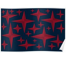 Starstuff, red stars over a deep blue background Poster